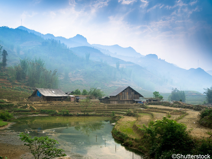 A Farmers Village Surrounded By Rice Fields, Sapa, Vietnam