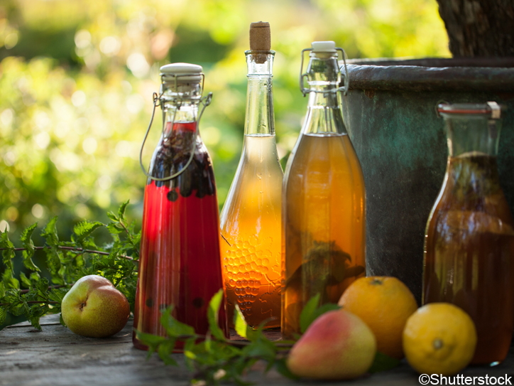 Kombucha second fermented fruit tea with different flavorings. Healthy natural probiotic flavored drink